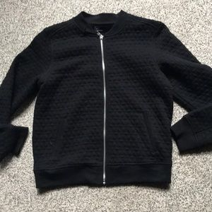 Gap quilted black cotton zip bomber jacket m